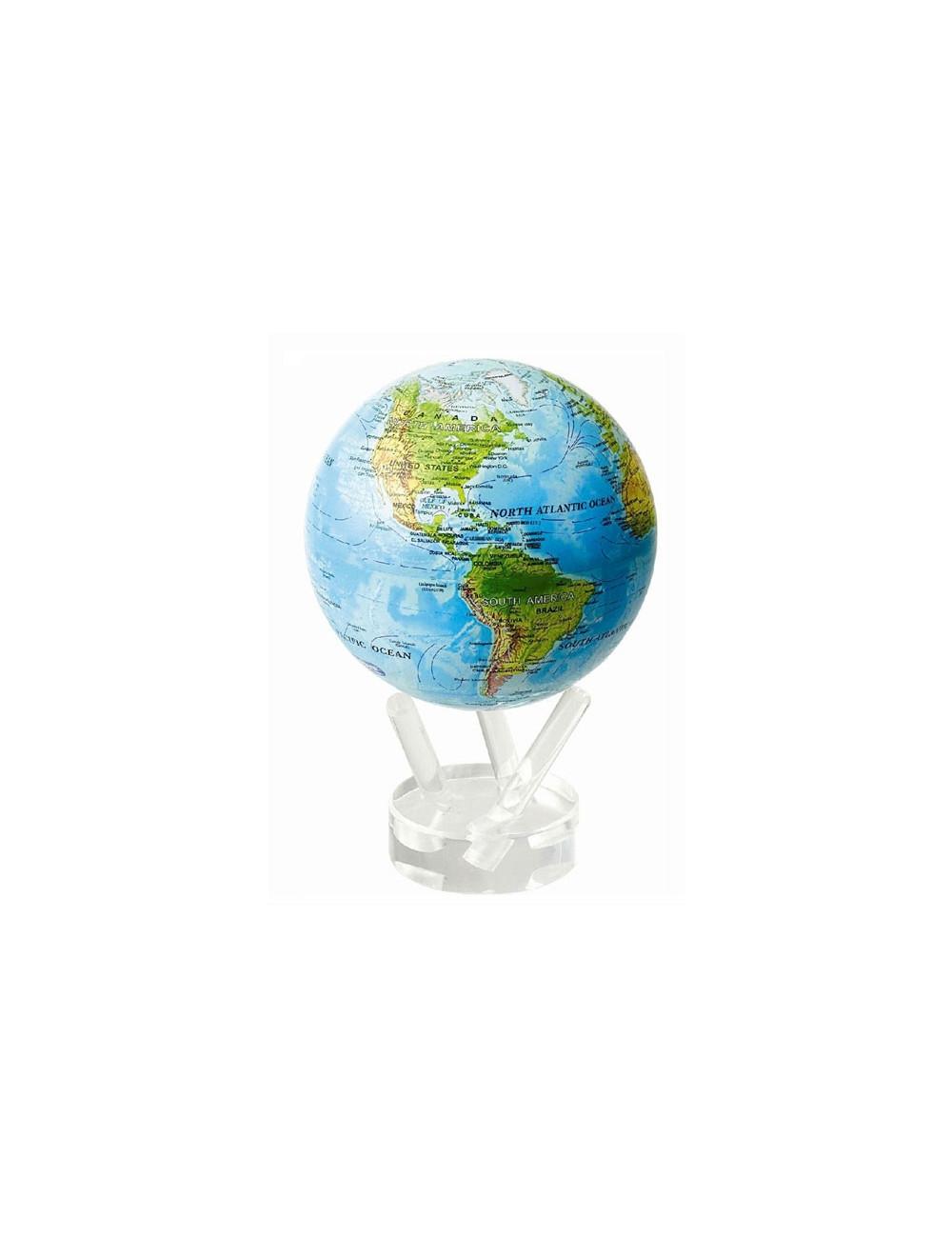 Globe autorotatif bleu avec reliefs 114 mm