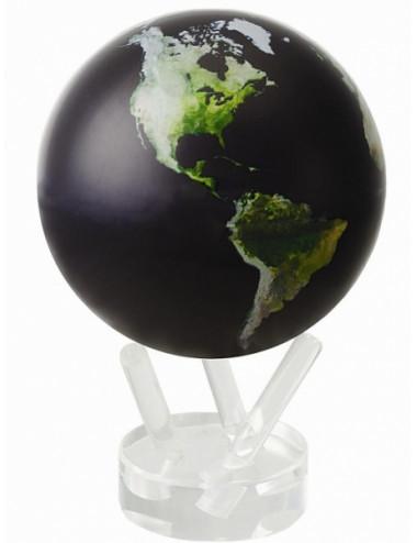 Globe autorotatif vue satellite noir 114 mm