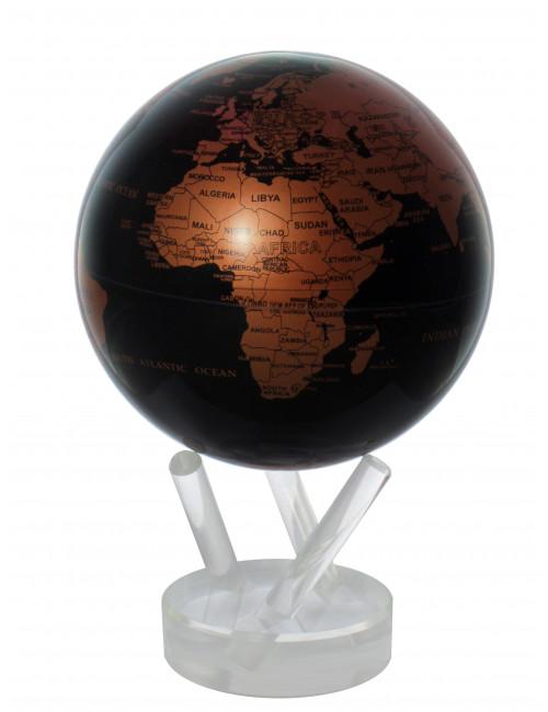 Globe MOVA autorotatif Noir/cuivre 114 mm (4.5')