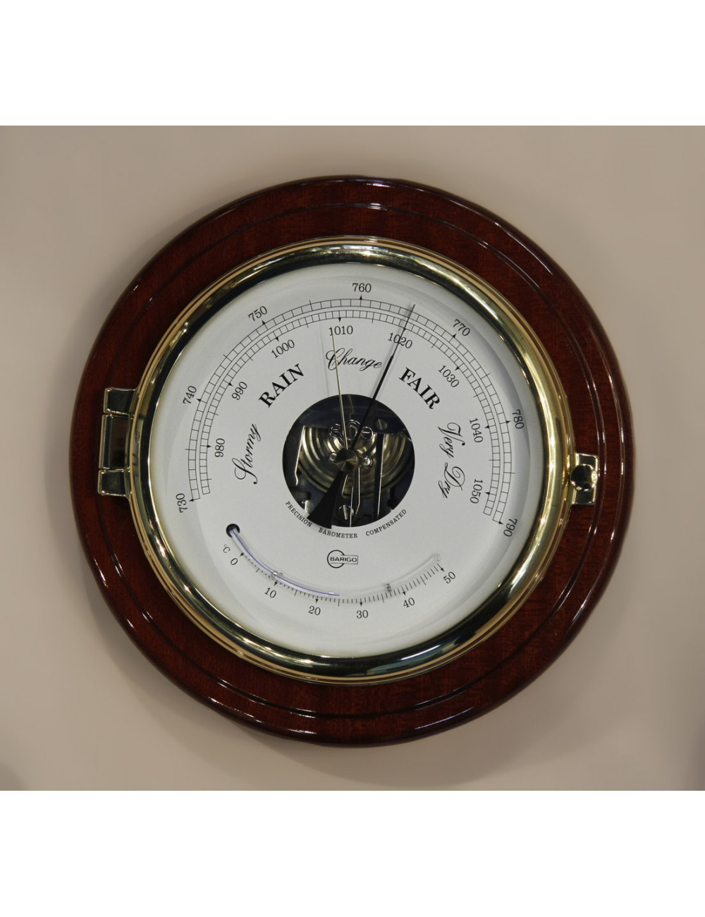 Baromètre laiton acajou diamètre 150 mm
