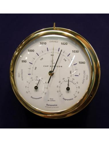 Baromètre laiton 120 mm avec thermo / hygro