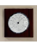 Baromètre chromé 100 mm sur fond en acajou
