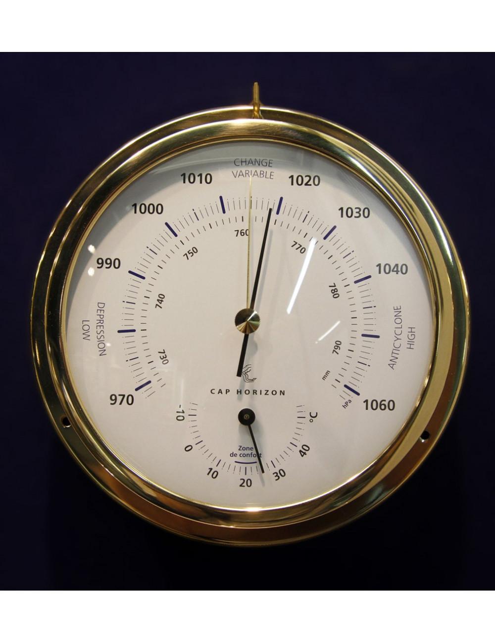 Baromètre / thermomètre laiton 120 mm