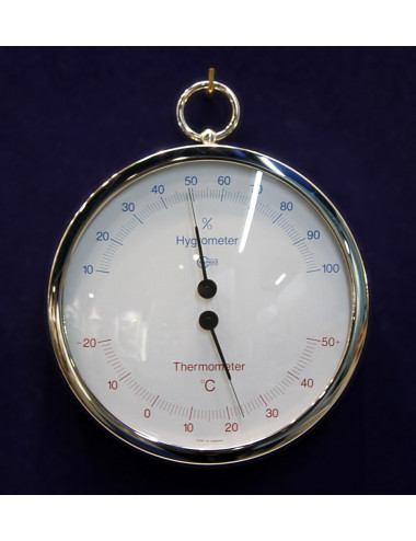 Hygromètre / thermomètre inox 130 mm