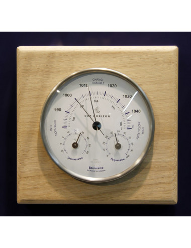 Baromètre-thermomètre-hygromètre métal 100 mm support chêne BARIGO