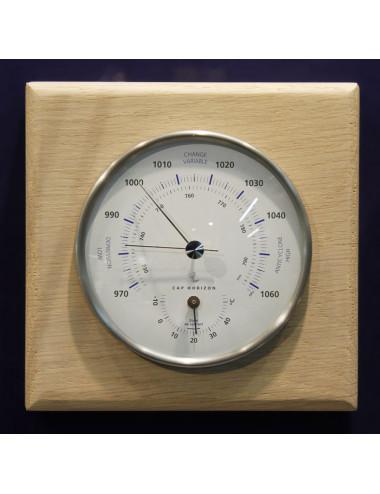 Baromètre / thermomètre métal 100 mm support chêne