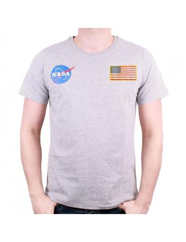 T-Shirt NASA - Gris - logo drapeau