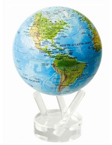 Globe autorotatif bleu avec reliefs 152 mm
