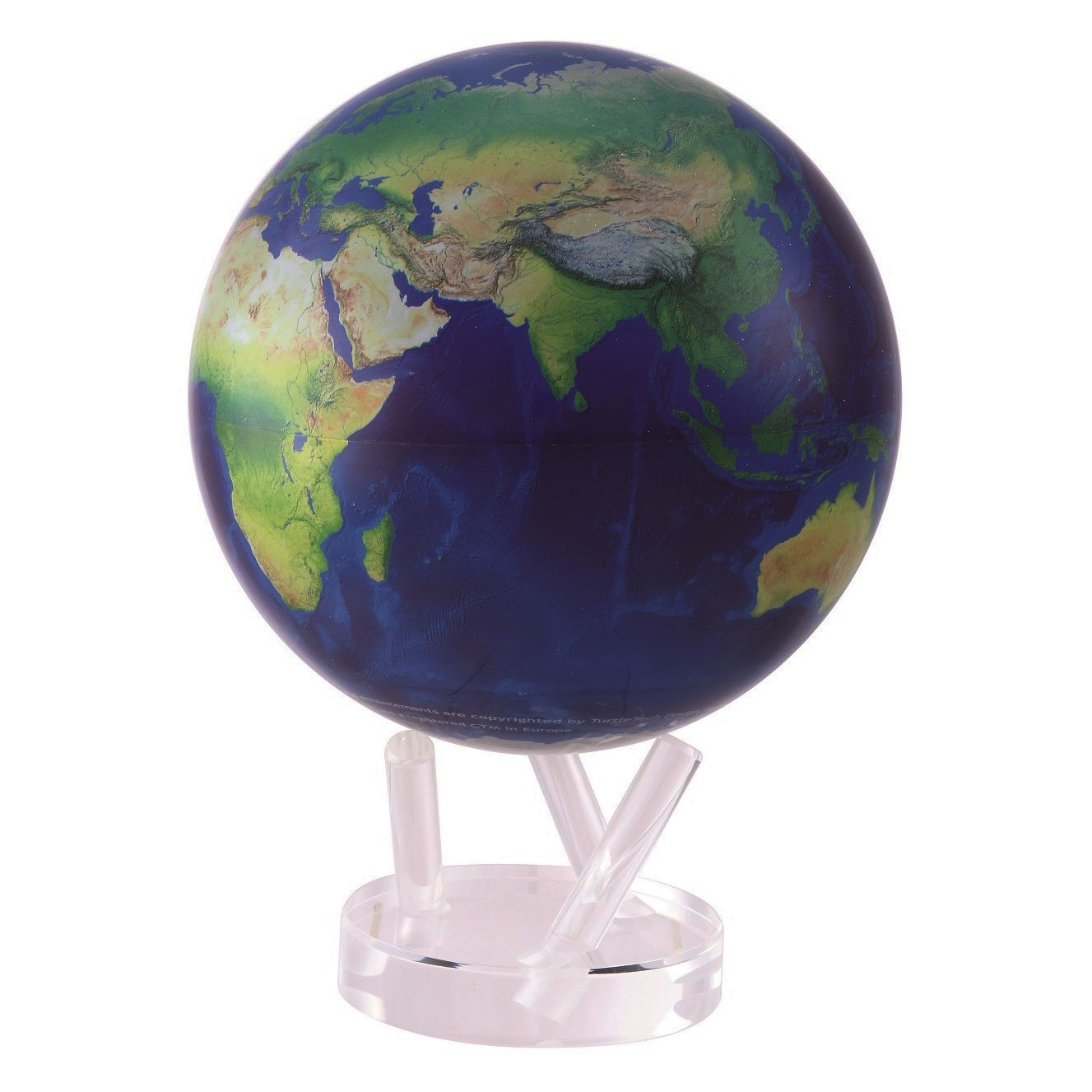 Globe autorotatif bleu / vue satellite 216 mm (8,5')