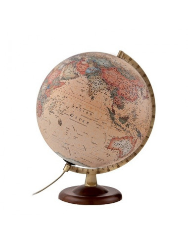 GLOBE ANTIQUE metal/base bois 30 Cm A4