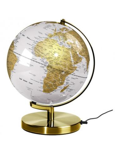 Globe lumineux 26 cm Blanc et Or