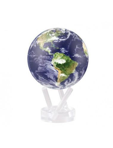 Globe autorotatif bleu avec nuages/vue satellite 114 mm