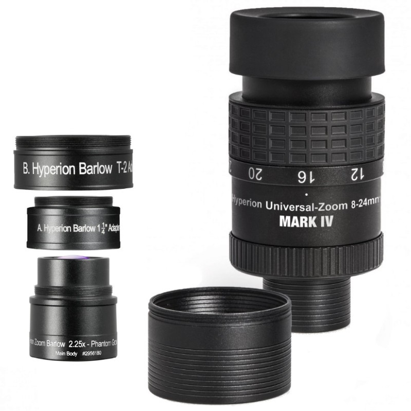 Oculaire Hyperion Clickstop Zoom 8/24 mm+barlow 2,25x Mark IV Baader
